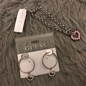 Guess Signature G earrings and heart bracelet